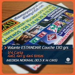 VOLANTES 1/4 de carta ESTANDAR medida normal (10.5 x 14 cms) COUCHE 130 GRS