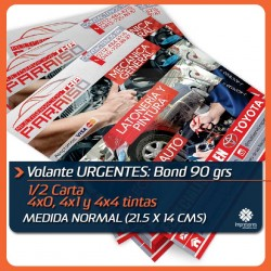 VOLANTES 1/2 carta URGENTES medida normal (21.5 x 14 cms) BOND 90 GRS