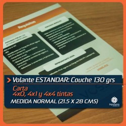 VOLANTES CARTA ESTANDAR medida normal (21.5 x 28 cms) COUCHE 130 GRS