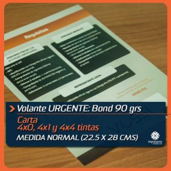 VOLANTES CARTA URGENTES medida normal (21.5 x 28 cms) bond 90 GRS