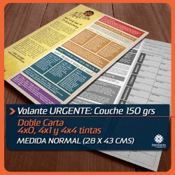 VOLANTES DOBLE CARTA URGENTES medida normal (28 x 43 cms) COUCHE 150 GRS