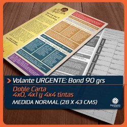 VOLANTES DOBLE CARTA URGENTES medida normal (28 x 43 cms) BOND 90 GRS